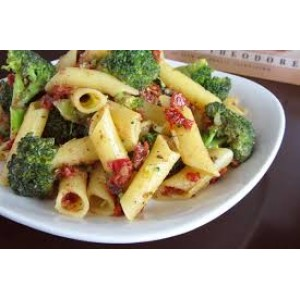 Penna  Pasta Broccoli Sundered Tomato and Feta Salad